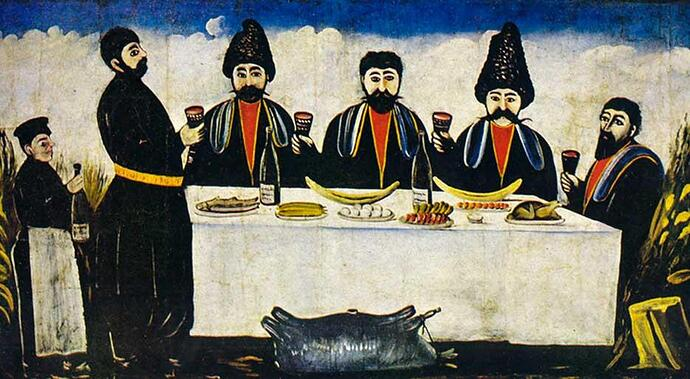 painting-of-georgians-enjoying-wine